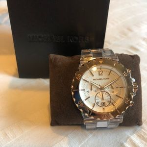 Clear and rose gold Michael Kors watch